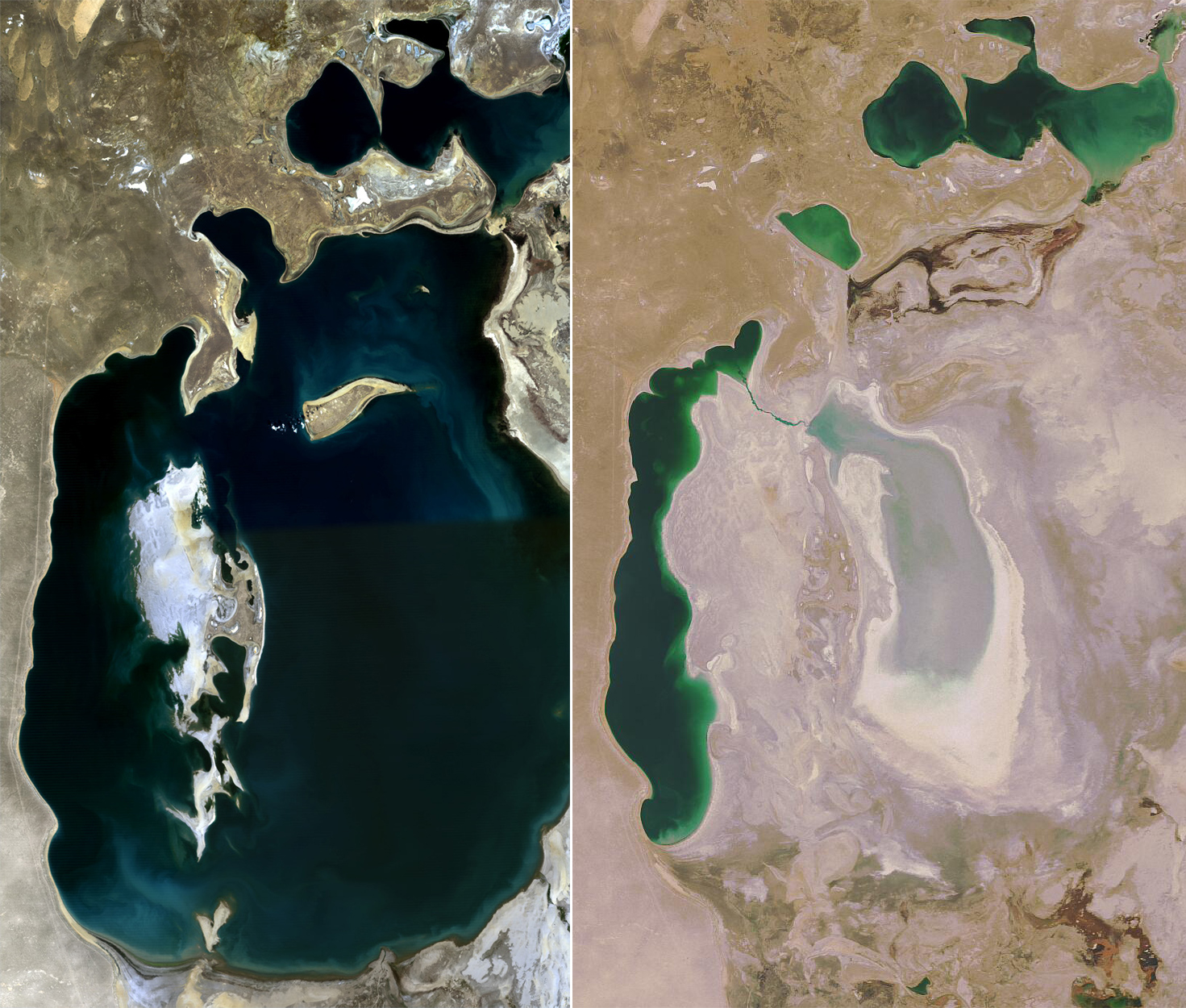 The Aral Sea in 1989 and 2008