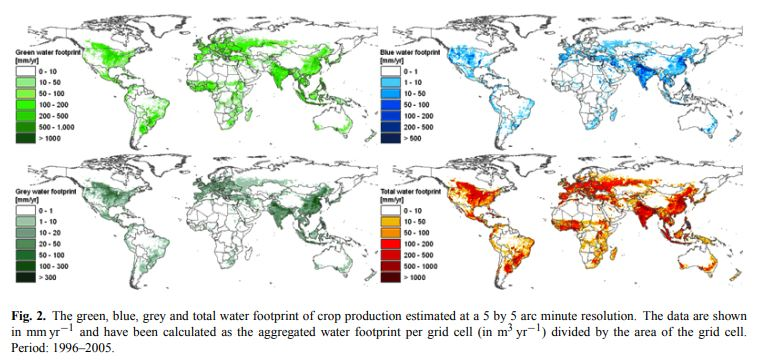 Map water footprint of the world